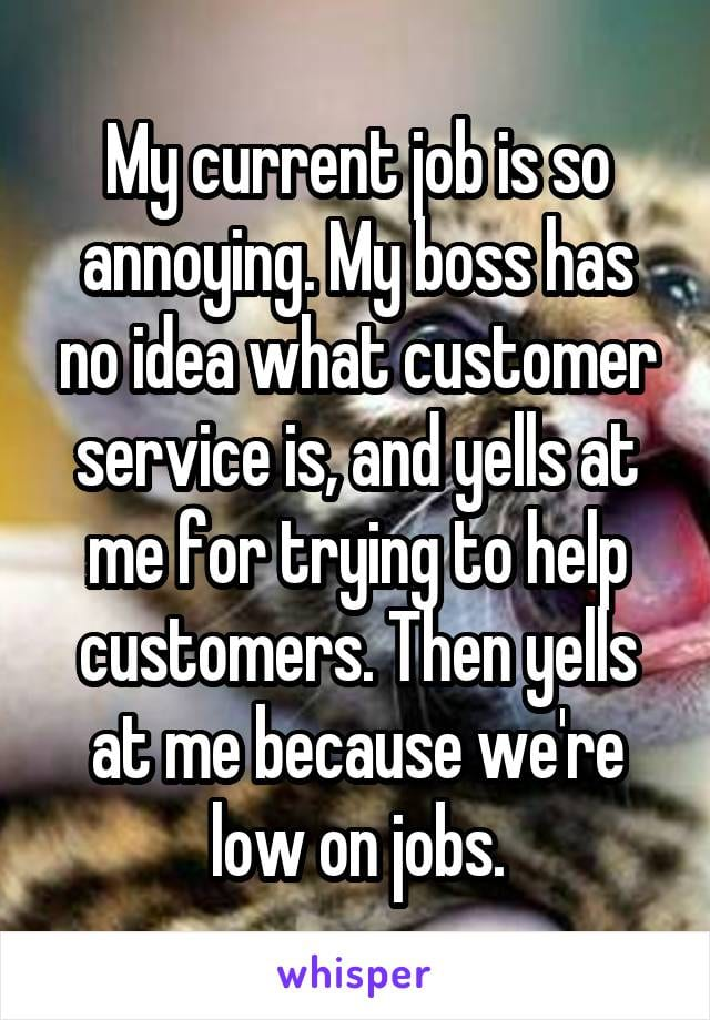 My current job is so annoying. My boss has no idea what customer service is, and yells at me for trying to help customers. Then yells at me because we're low on jobs.